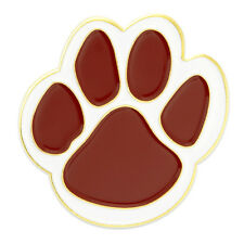 PinMart's Maroon and White Animal Paw Print School Mascot Enamel Lapel Pin