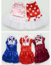Small girl pet dog clothes apparel flower bowtie skirt summer princess dress