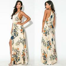 Summer Women Vintage Floral Sleeveless Evening Cocktail Party Long Maxi Dress
