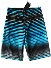 Hurley Kids Boys Board Shorts Surf Swim Trunks Cyan Blue Stripe Boardshorts NEW