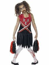 FANCY DRESS COSTUME # GIRLS HALLOWEEN ZOMBIE CHEERLEADER OUTFIT AGES 7-13 YEARS