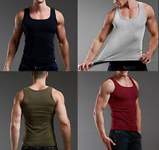 Men's Tank Top Workout Bodybuilding Y-Back Basic Summer Muscle Ribbed Tanktop