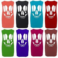 New Womens Over Size Laser Cut Skull Head Tank Tops 12-22