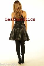 New High waisted Luxury nappa ladies leather skirt black long pleated A line 509