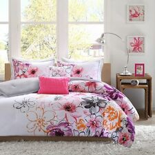 NEW Twin XL Full Queen Bed 5 pc Purple Orange Pink Gray Floral Comforter Set NWT