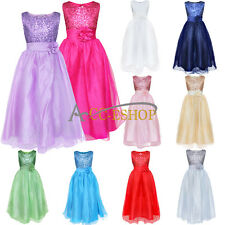 Flower Girl Pageant Party Wedding Bridesmaid Princess Formal Sequins Gown Dress