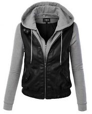 Women Leather Patchwork Long Sleeve Removable Hooded Jacket Coat Sweats Hoodies