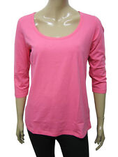 Womens H&M T-Shirt Scoop Neck 3/4 Sleeve Top Salmon Pink Size 14 to 28 A17+18