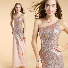Sequins Long Formal Evening Ball Party Wedding Bridesmaid Prom Dresses Plus Size