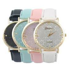 Women Ladies Letheroid Band Floral Pattern Casual Dress  Wrist Watch