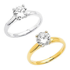 14k Gold 1ct H-SI1 EGL USA Certified Round Diamond Solitaire Engagement Ring