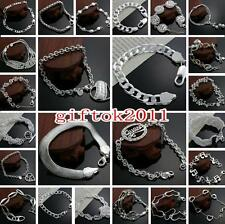 wholesale solid 925sterling silver jewelry chain bracelet charm bangle Love gift