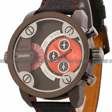 2016 New OULM Dual Time Zones Special Military Mens Leather Wrist Watch US Ship