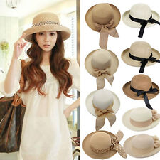 Fashion Summer Women Wide Brim Beach Sun Hat Elegant Straw Floppy Bohemia Cap