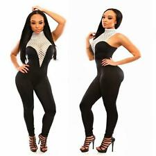 Sexy Women's Sleeveless Hollow Out Bodycon Night Club Jumpsuit Romper Pants