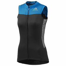 Adidas Womens Supernova Black Sleeveless Full Zip Cycling Jersey G82330