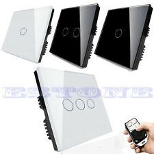 Smart Touch Wall Light Switch Crystal Glass Panel 1/2/3 Gang + Remote Control