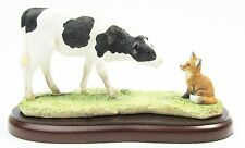 "Fresian Calf & Fox Cub Figurine ""Morning Encounter"" Border Fine Arts Cow A26013"