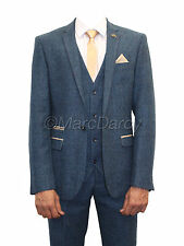Mens Marc Darcy Designer Blue Tweed Herringbone Checkered Vintage 3 Piece Suit