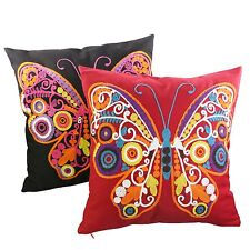 Canvas Cotton Butterfly Embroidery 40x40cm Cushion Cover Bed Sofa Pillow Case