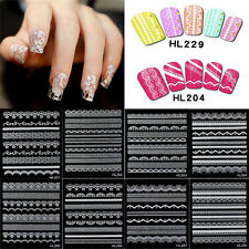 Crystal Lace Nail Art Stickers Decal Symbol Figure Manicure Adhesive Tip Stencil