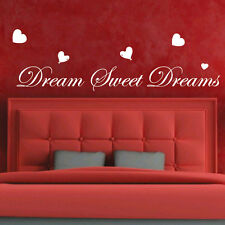 Dream Sweet Dreams Love Heart Art Bedroom Wall Quote Stickers Wall Decals bn