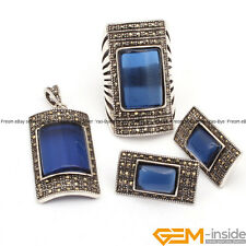 Rectangle Gemstone Vintage Tibetan Silver Jewerly Set Ring Pendant Earring