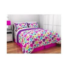 Teen Bedding Set Hearts Bed Bag Queen Full Twin Girls Pink Purple Sheets Kids