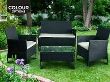 4 PIECE OUTDOOR GARDEN RATTAN EFFECT FURNITURE SET SOFA CHAIRS TABLE PATIO BLACK