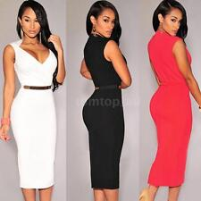 Womens Ladies Sexy V-Neck Bodycon Cocktail Party Evening Slim Dresses