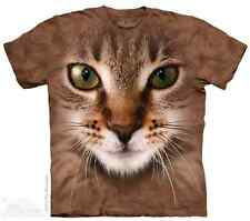 THE MOUNTAIN STRIPED CAT ANIMAL PET FLUFFY MEOW BROWN BIG FACE T TEE SHIRT S-5XL