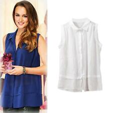 NEW Fashion Women Ladies Semi-Sheer T Shirt Turn-down Collar Chiffon Blouse Tops