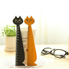 SE 1pcs Korea Kawaii Cute Cat Kitty Face Stationery Wood Ruler Sewing Ruler AU1