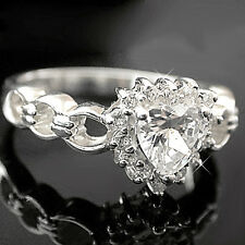 925 SOLID STERLING SILVER Simulated Diamond HEART Ladies Ring | Hallmarked 925