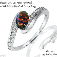Elegant Oval Cut Black Fire Opal White Sapphire CZ Genuine Sterling Silver Ring
