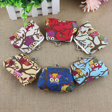 New Fashion Women Girls Owl Printed Coin Money Purse Wallet Canvas Pouch Bag