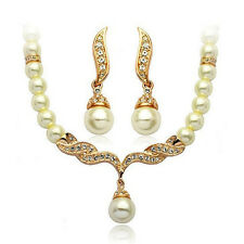 Hot Rhinestone Crystal Pearl Necklace Earring Plated Jewelry Set Wedding Bridal