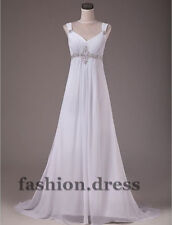 STOCK New White/Ivory Beaded Bridal Gown Wedding Dress Size 6 8 10 12 14 16