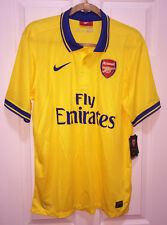 NEW Mens L NIKE 2013 14 Arsenal Away Gold Blue Replica S/S Soccer Jersey Yellow