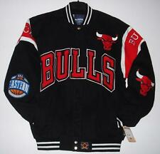 NBA Chicago Bulls Authentic Embroidered  Cotton  Jacket JH Design Black New