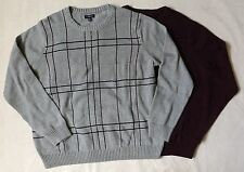 NEW Croft & Barrow Mens Pullover Crewneck Sweater Gray Burgundy Many Sizes Color