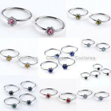 10x Steel 22G Czech Crystal Flower Hoop Fake Nose Lip Helix Rings NO Piercing