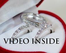 Royal*His&Hers 3 Pieces Wedding Ring Set Engagement Ring Platinum Made in Italy
