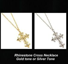 Cross pendant Necklace rhinestones your choice silver tone or gold tone  new