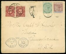 GIBRALTAR : 1903 Postage Due cover to USA with nice markings.