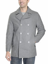Michael Kors Heather Gray Wool Blend Double Breasted Peacoat Coat
