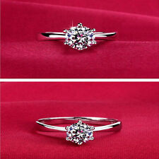925 Sterling Silver Diamond Rings for Women Wedding Engagement Crystal Jewelry