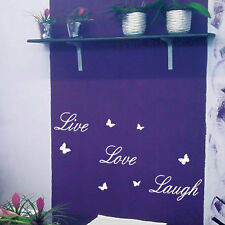 Live Love Laugh Butterfly Art Wall Quote Stickers, Wall Decals, Words Lettering