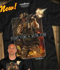 7.62 DESIGNS FIGHT FIRE WITH FIRE NEW T SHIRT FOR PATRIOTS AND MEN OF ARMS