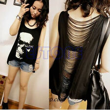 Sexy Women Punk Skull Slash Tassel Singlet Backless Top Tank Black T-Shirt Vest